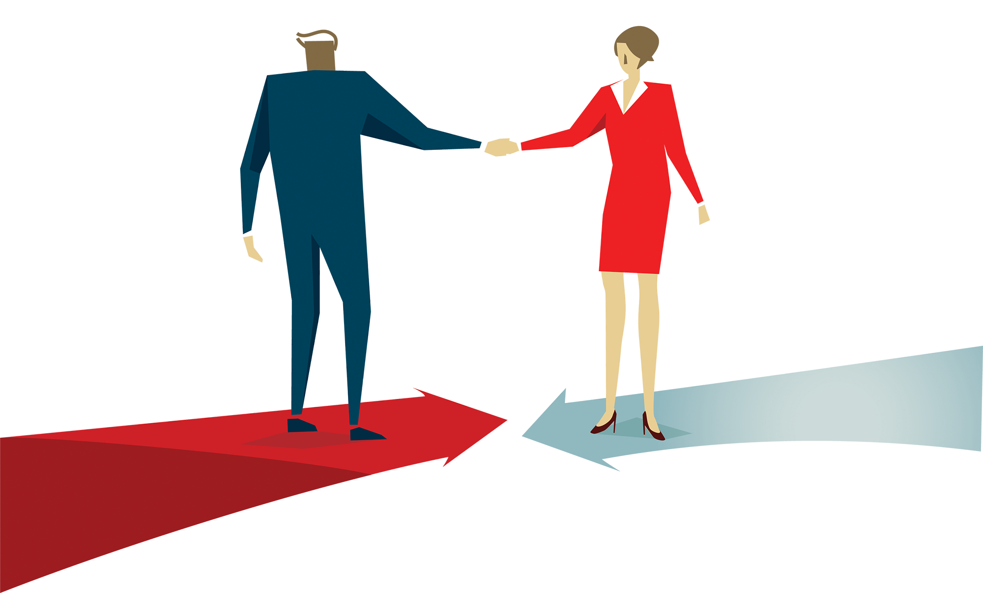 Illustration of Man and Women Shaking Hands